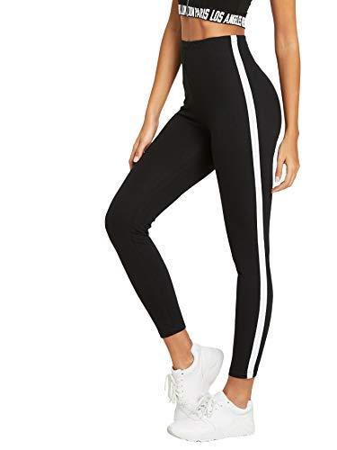 DIDK Damen Leggings Gestreift Kontrast Fitnesshose Hohe Taille Yogahose Sporthose Leggings mit Streifen Band auf den Seiten Schwarz-Weiß M