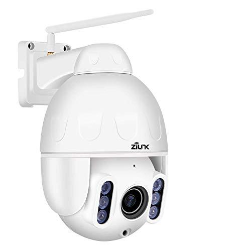 ZILNK PTZ Cámara IP para Exteriores (Wi-Fi, 1080P, micrófono y Altavoz Integrados, Impermeable, visión Nocturna, Zoom óptico de 4X, Motion Detection Alalalrm, Soporte para Tarjeta TF de 64 GB)