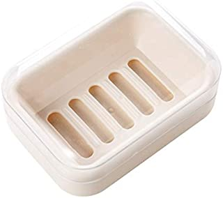 Exquisite soap Box Waterproof soap Box with lid Bathroom Household Drain soap Box Creative Travel soap Holder Large soap Holder Beige (Color : Beige)