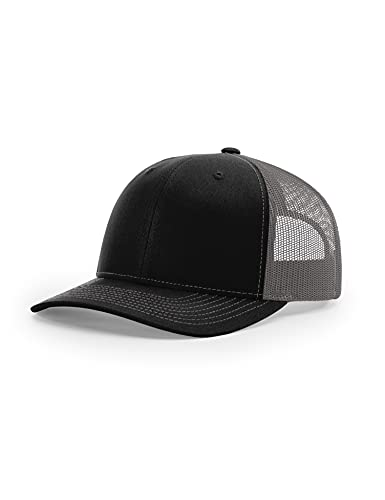 Richardson 112 Trucker OSFA Baseball Hat Ball Cap, Black/Charcoal, SIZE