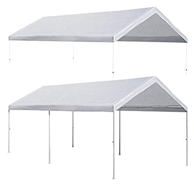 Strong Camel 10'x20' Carport Replacement Canopy Cover for Tent Top Garage Shelter Cover with Cable Ties (Only Cover, Frame is not Included)