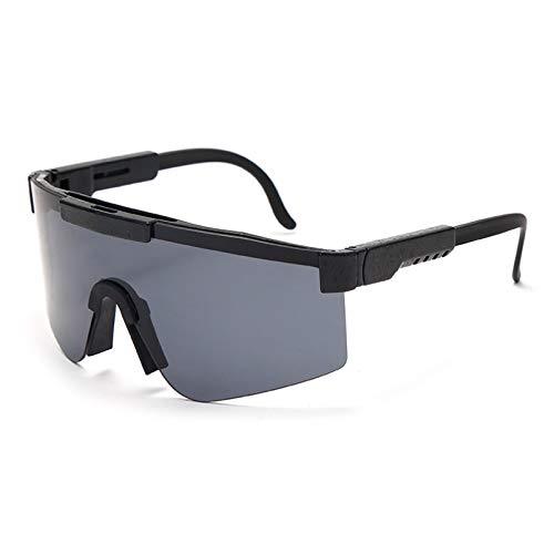 SXRAI Gafas de sol para mujer con marco azul y lentes espejadas a prueba de viento para hombre y mujer Uv400, C1