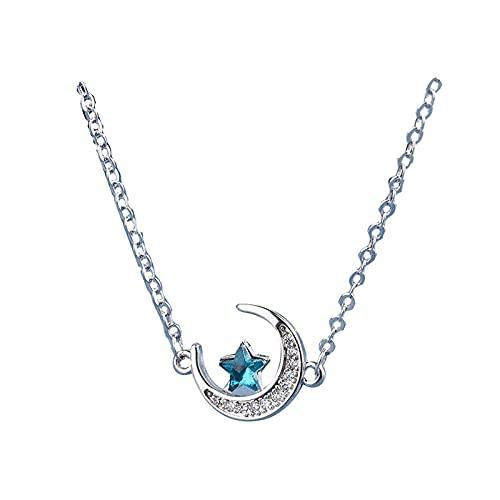 Romantique 925 Sterling Argent Sterling Zircon Collier Girl Moon Cuker Blue Star Pendentif Party Mariage Bijoux de mariage Accessoires Cadeau