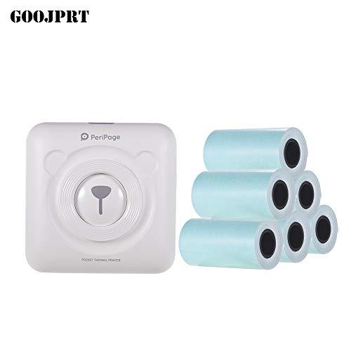 Aibecy Goojprt Peripage, imprimante thermique de poche sans fil (BT image, étiquette, photo, mémo) livrée avec câble USB, prise de charge de smartphone, Android, iOS. blanc
