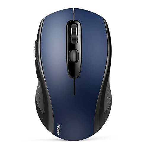 Bluetooth Wireless Mouse, TeckNet 3 Modes Bluetooth 5.0 & 3.0 Mouse 2.4G Wireless Portable Optical Mouse with USB Nano Receiver, 2400 DPI for Laptop, MacBook, PC, Windows, Android, OS System (Blue)