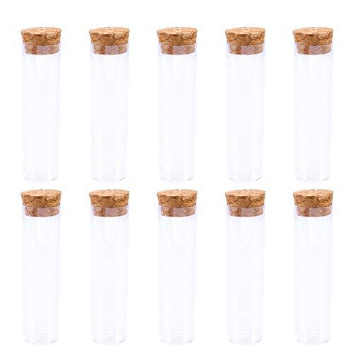 Healifty 10 Stück Klares Kunststoff-Reagenzglas mit Holzkappenstopfen Und Bürste für Wissenschaftliche Experimente Party-Aufbewahrung 25X95mm