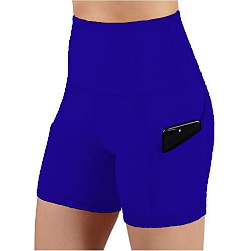 BUXIANGGAN Shorts Pantalones Cortos Mujer Pantalones Cortos Deportivos De Cintura Alta Sin Costuras para Mujer Entrenamiento Y Running Gimnasio Ropa Deportiva Blue_L