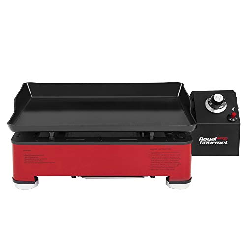 Royal Gourmet PD1202 18-Inch Portable Gas Grill Griddle - Propane Fueled, 9,000 BTU, Table Top for Outdoor Cooking while Picnicking or Tailgating, Red