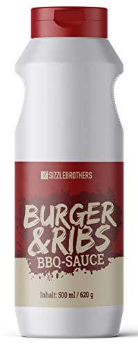 SizzleBrothers Original BBQ Sauce & Burger Sauce | satte 620g | Super leckere Sauce für Burger, Grillfleisch, Steaks, Pulled Pork, Hähnchen & Co. | Barbecue Burgersauce & Spareribs Glaze