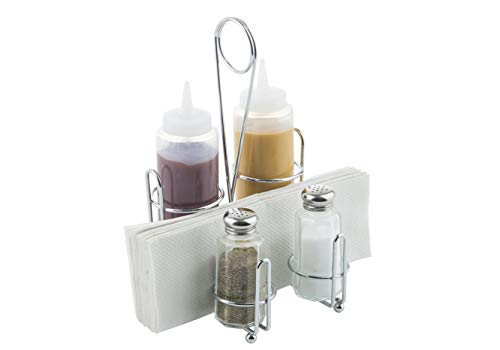Tablecraft Products Retro Condiment Caddy Set, 1 Pack, Stainless Steel