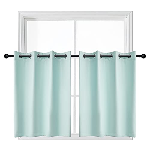 YGO 36 inch Curtains Grommet Aqua Blackout Window Valances for Bathroom Thermal Insulating Tiers Curtains for Bedroom 52x36 Inch 2 Panels