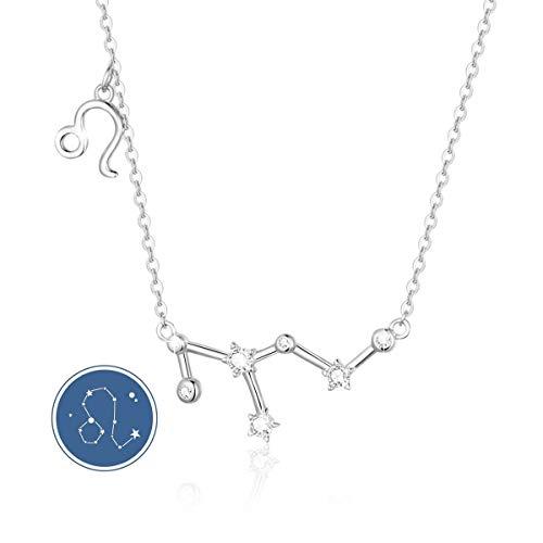 SIMPLGIRL Plata de Ley 925 Horoscopo Collares 12 Constelaciones Colgantes los Signos del Zodiaco para Mujer Regalo de Cumpleaños, 45CM