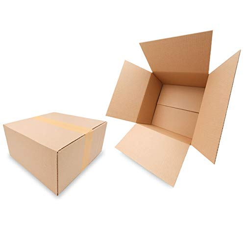 50 Faltkartons 300x300x150mm braun KK 36 1 wellig quadratisch | DHL Päckchen M | DPD S | GLS S | H Paket S | Versandkartons für mittelgroße Waren mittelgroße Kartons