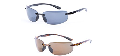 2 Pair of Maui Sunshine Bifocal Sunglasses Lightweight TR90 Frames for Men and Women. Polarized and Non Polarized Available. (Polarized - Black/Tortoise, 3.0)