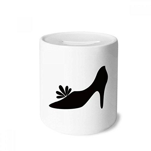 DIYthinker Saltos altos pretos padrão flor contorno caixa dinheiro caixa cerâmica porta-moedas presente cofrinho