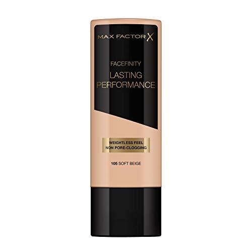 Max Factor Lasting Performance Foundation Soft Beige 105 – Langanhaltendes Flüssig Make-up – Für die perfekte, schwerelose Grundierung – 1 x 35 ml