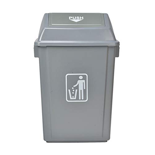 KGDC Trash Can Wastebasket 23 Litre / 6 Gallon Swing Cover Trash Can (gray) Garbage Can for Indoor (Capacity : 100L)