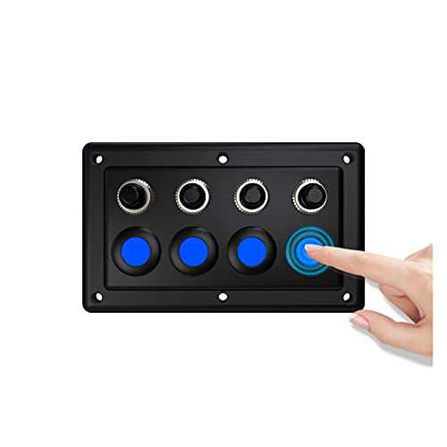 Panel de interruptor de rockero marino impermeable, cabina de barco Modificación de un solo panel táctil para controlar el interruptor iluminado de 4 dígitos 12-24V Propósito general, utilizado en RV,