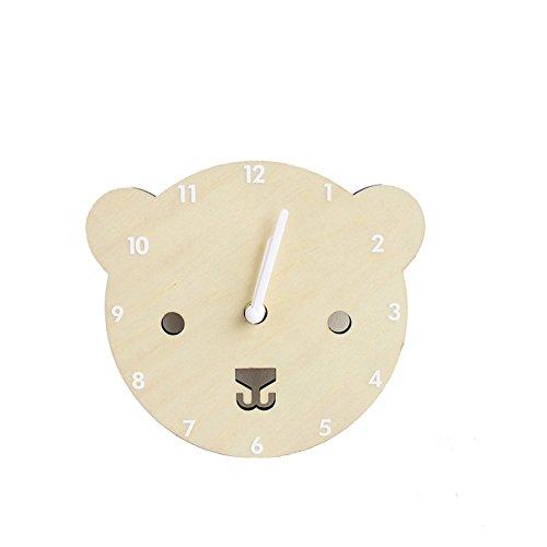 Here&There Horloge Murale Animal Mignonne Bois Pendule Silencieuse (Ø) 20 Décoration Enfant fille...