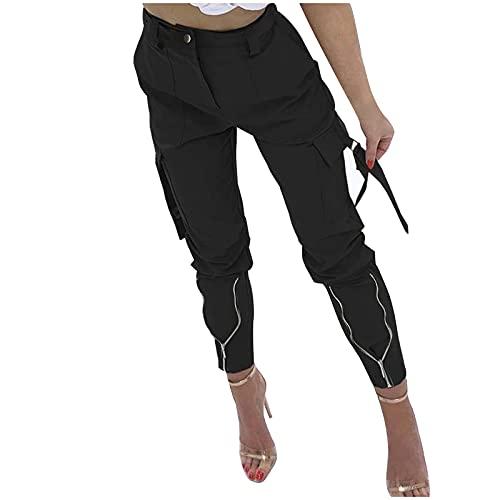 SHAOOP Mono de Nujer de Color Liso con Bolsillos y Serpentinas Medias Delgadas con Cremallera Otoño Pantalones