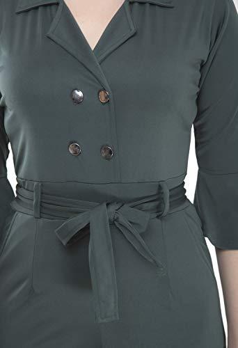 CUPIDVIBE Women's Georgette Solid Jumpsuit Green