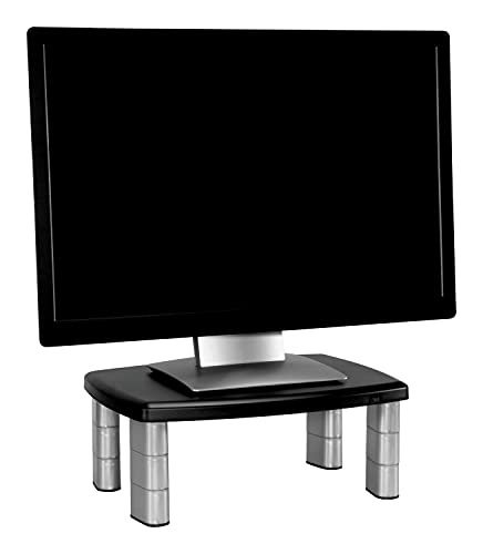 3M Adjustable Monitor Stand Riser, Three Leg Segments Simply Adjust Height, Sturdy Platform Holds Up to 80 lbs for Monitors, Laptops, and Printers, Space for Storage Underneath, Silver/Black (MS80B)