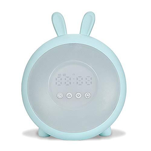 GQNLY Wake Up Beleuchtung, LED-Nachttischlampe Dekorieren Schreibtisch-Licht-Wecker 7 Bunte Ferien Kreative Rechargable Birne Für Baby-Schlafzimmer Luminar,Blau