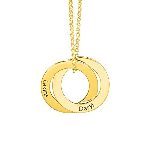Y.verve Collar Grabado con el Nombre del Anillo Ruso 2 - Collar de Disco Personalizado y Personalizado(Oro-16)