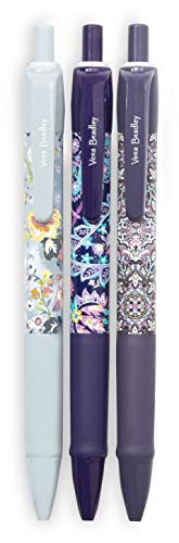 Vera Bradley Black Ink Click Pen Set of 3 with Storage Pouch, Summer 20 Medley