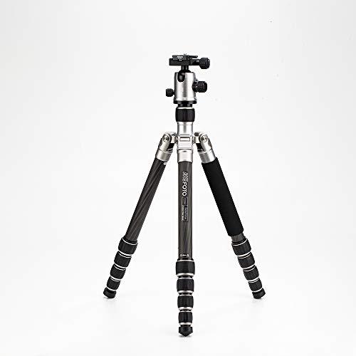 MeFOTO GlobeTrotter  64.2' Carbon Fiber Travel Tripod/Monopod w/Case, Twist Locks, Dual Action Ballhead w/Arca Swiss Plate for Mirrorless/DSLR Sony Nikon Canon Fuji - Titanium (C2350Q2T)