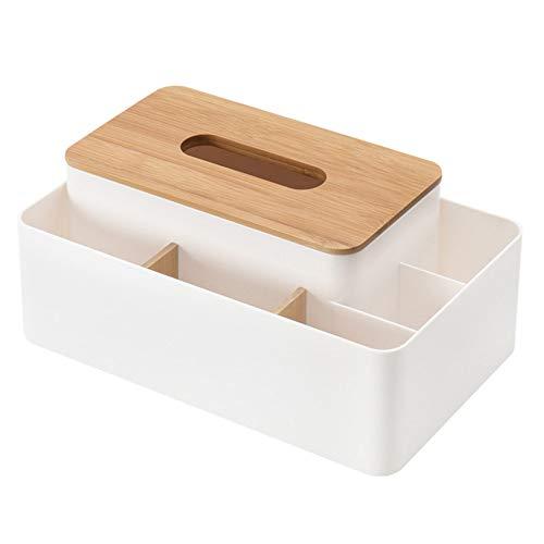 Saytay ティッシュケース ティッシュボックス 化粧品収納ボックス 卓上収納ケース 収納ボックス 木蓋付き 木目調 高級感 書斎、テーブル、寝室、居間、事務室用 (ホワイト)