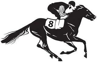 "Jockey Horse Racing Race Track Racehorse Car Truck Window Bumper Vinyl Graphic Decal Sticker- X Large 11"" x 6.8"" inchess"