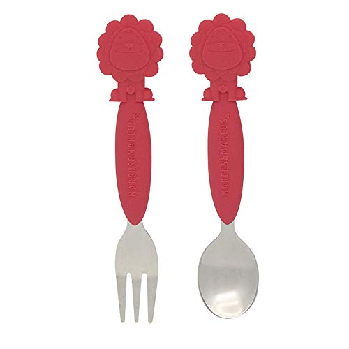 Toddler Fork and Spoon Set, Stainless Steel with Silicone Handles, Red Lion by Marcus & Marcus