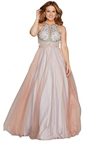 Tiffanys Illusion Prom Erröten/Gold Nicola Perlen Mieder Netz Overlay Kleid 40