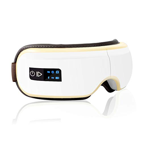 SOSU【2021改良版】6つ智能美容モードアイウォーマー最新グラフェン 加熱技術 目の疲れ Bluetooth音楽機能 日本語音声 日本語説明書 USB充電 男女兼用 ギフト プレゼント 目元ケア 通気性 ホワイト