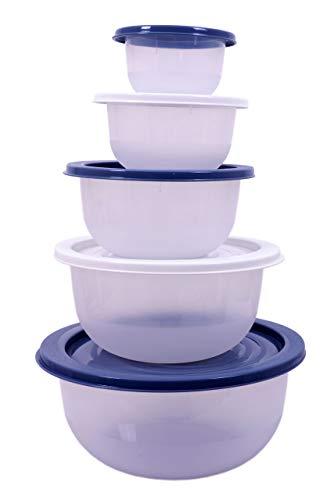 Salat Schüssel Set 5 teilig - 0,5 bis 5 Liter - Kunststoff Kochschüssel Rührschüssel mit Deckel - spülmaschinenfest