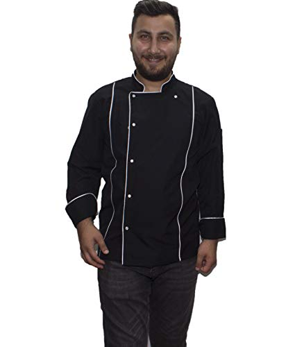 PALMİYE Chef's Jacket WHİTE Chef Jacket Coat Jacket for Man-Black-WHİTE (L)