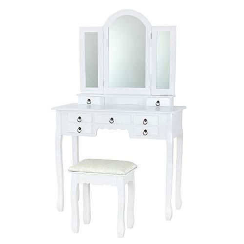 Albatros Schminktisch Zara, Weiss, mit Hocker, schwenkbarer Spiegel, neues Modell mit 7 Schubladen, Kosmetik- und Frisier-Tisch