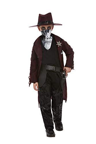 Smiffys Deluxe Dark Spirit Western Cowboy Costume Disfraz de vaquero occidental de espíritu oscuro, color rosso, S-4-6 Years (64001S)
