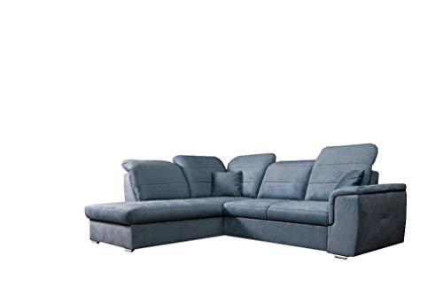 MOEBLO Ecksofa mit Schlaffunktion mit Bettkasten Sofa Couch L-Form Polstergarnitur Wohnlandschaft Polstersofa mit Ottomane Couchgranitur - BLAS (Blau,...