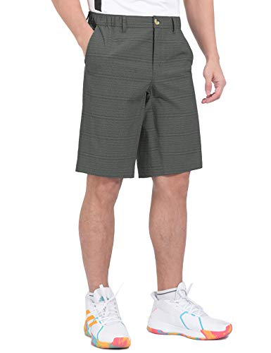 Little Donkey Andy Men's Quick Dry Stretch Bermuda Shorts with Elastic Waist for Golf Hiking Black XXL