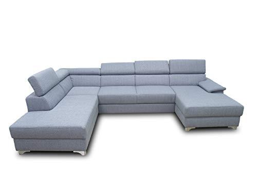 DOMO Collection Niria Wohnlandschaft | Eckcouch mit Rückenfunktion | Sofa U Form Couch, großes Ecksofa, grau, 167x337x230 cm