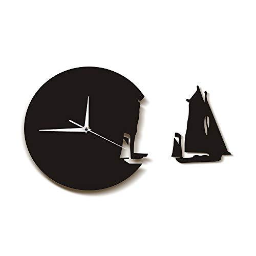 yrfchgj Yate de Salida del Barco de Vela Reloj de Pared Moderno de Estilo Playero decoración del hogar Reloj de Barco de Vela Marineros Regalo Marines