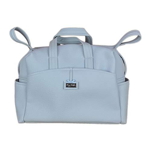Rosy Fuentes - Bolsa de Canastilla - Bolso Cambiador - Gran Capacidad - Elaborada con Ecopiel Labrada - Elegante y Práctica - Materiales de Máxima Calidad - Color azul empolvado