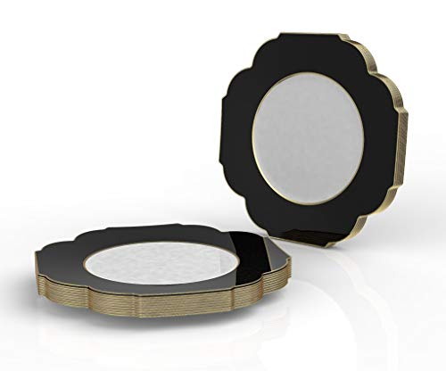 Luxe Party Premium 10.7 Inch Disposable Two-Tone Plastic Plates (20 Pack) Heavy-Duty China-Like Flower Shaped Dinnerware with Gold Metallic Rim - Large Dinner or Charger Plate- BLACK