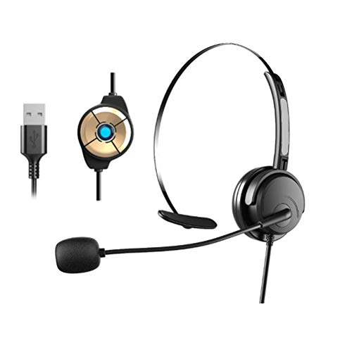 Poapp Wired USB headset, head-mounted headset with microphone, headphones stereo with noise canceling microphone, headset for relaxed gaming, learning and music