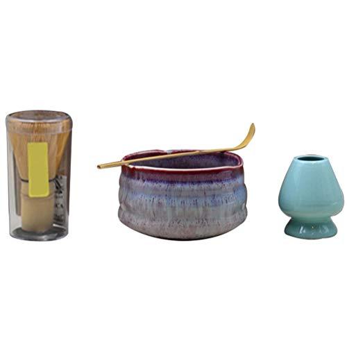 kylew Juego de 4 batidores japoneses de Matcha, batidor (Chasen), Cuchara Tradicional (Chashaku), Cuchara de té y Cuenco de cerámica Matcha, Accesorio para la Ceremonia del té para Hacer Matcha