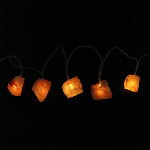 SOLUSTRE Luz de Hadas de Sal del Himalaya Piedras de Cristal Lámpara de Sal Luces Colgantes Decorativas de Interior con Pilas para Meditación Escritorio de Oficina de Yoga (Beige)