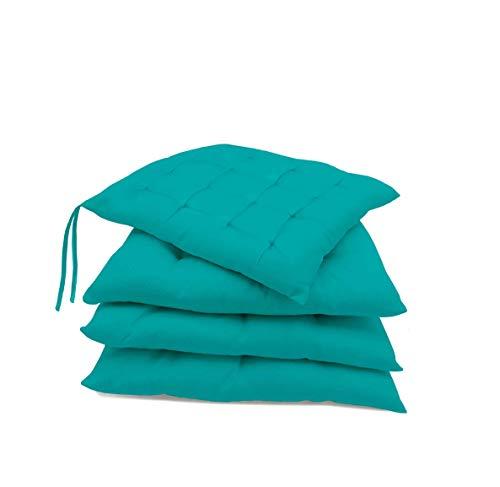 Pack de 4 Cojines para sillas jardín, Comedor, Cocina | Cojines Acolchados para Silla de 40 x 40 cm | Decoración hogar Ideal para sillas (Turquesa)