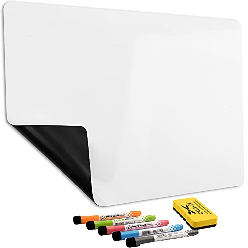 Magnetic Dry Erase Whiteboard for Refrigerator – Magnetized, Removable, Residue-Free Art and Memo Board for Family, Kids, Home, and Office – Magnetic Markers & Eraser Included (12 x 8 Inches)